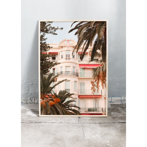 Photography art print of white building and palm trees in Italy. Print is printed on a matte, high quality paper.