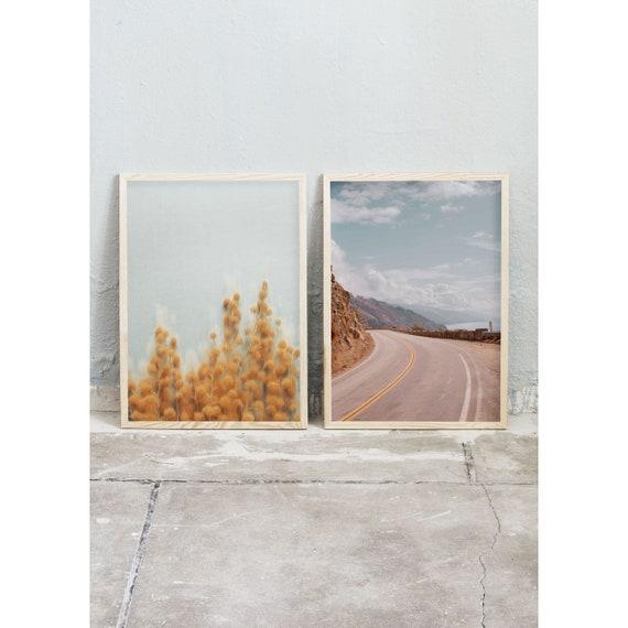 Photography, Art, Set of 2, Mimosa, California, Art Prints, Wall Art,  Flowers, Color Print, Yellow, Nature, Pacific Ocean, Light Artwork