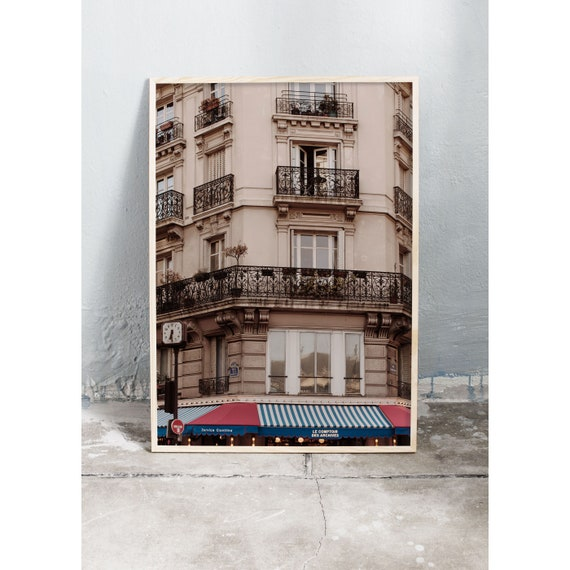 Photography art print of a building in Marais, Paris. Print is printed on a high quality, matte paper.