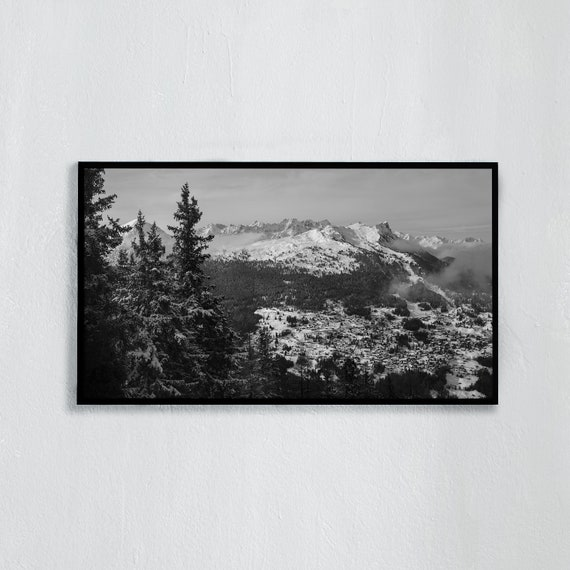 Frame TV Art, Digital downloadable art, Art work of the Swiss Alps, Black and white photo of snowy mountains in Switzerland