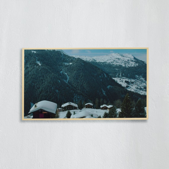 Frame TV Art, Digital downloadable art, Art work of the Swiss Alps, Snowy mountains Switzerland and blue sky, Swiss chalet roofs with snow