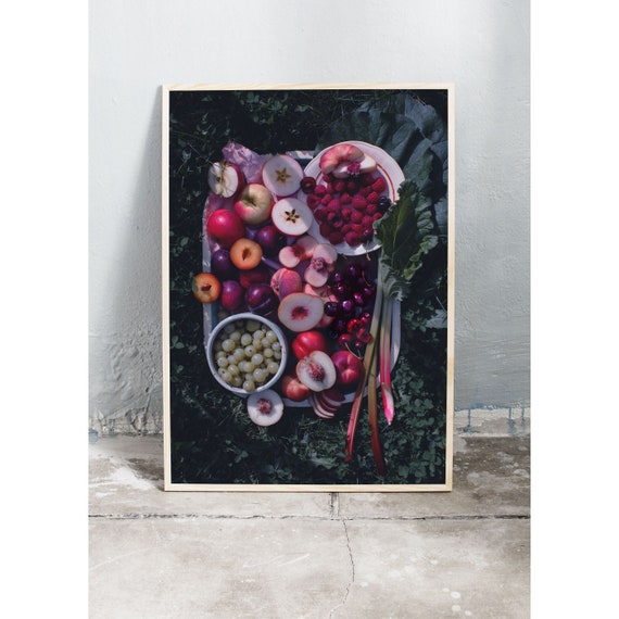 Still life art photography print of summer fruits and berries. The print is printed on beautiful, high quality, matte paper.
