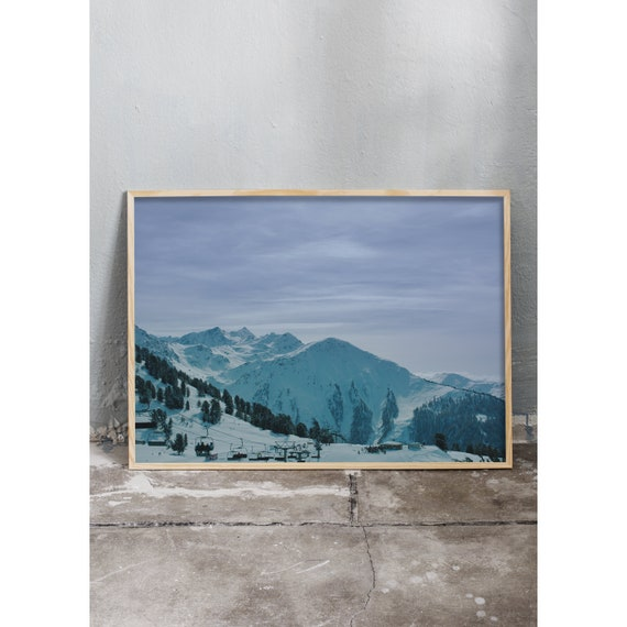Photography art print of snowy mountains in the Swiss alps. Print is printed on a high quality, matte paper.
