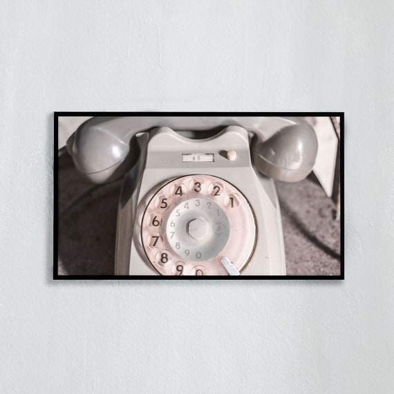 Frame TV Art, Digital downloadable art photography, Italian gray, vintage telephone, Art for digital TV
