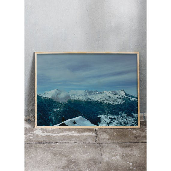 Art photography print of snowy mountains in the Swiss alps. Printed on a high quality, matte paper.