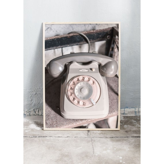 Photography art print of an Italian grey vintage telephone. Print is printed on a high quality, matte paper.
