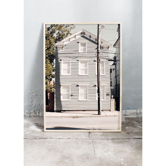 Photography art print of a grey house in Charleston. Print is printed on a high quality, matte paper.