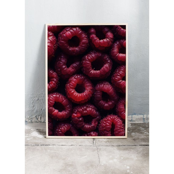 Photography food art print of close-up of red raspberries. Print is printed on a high quality, matte paper.