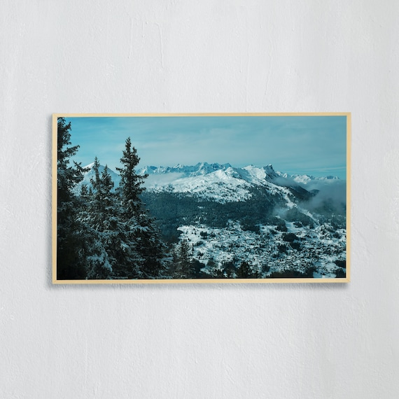 Frame TV Art, Digital downloadable art, Art work of the Swiss Alps, Snowy mountains in Switzerland and blue sky, view towards Isérables