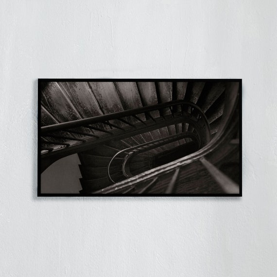 Frame TV Art, Paris, Digital downloadable art work, Black and white, old wooden staircase in Paris, Art for digital