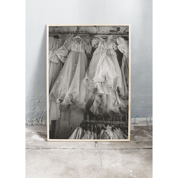 Black and white digital downloadable photo of dresses for sale in Ercolano, Italy.