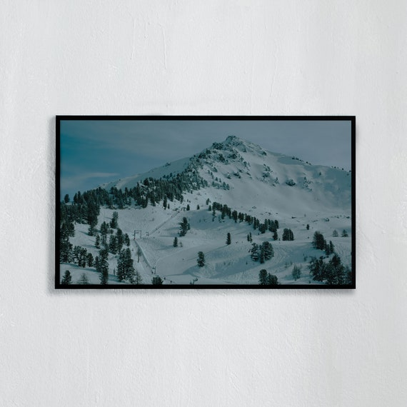 Frame TV Art, Digital downloadable art, Art work of the Swiss Alps, Snowy mountains in Switzerland and blue sky, ski lift and slope