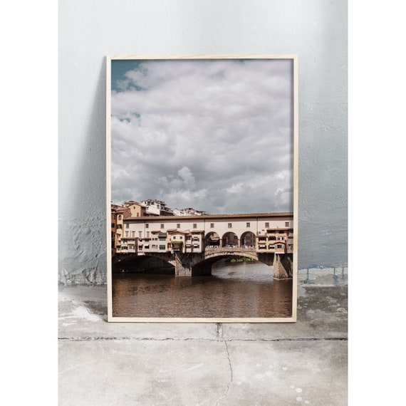 Photography art print of the old bridge Ponte Vecchio in Florence, Italy. Printed on high quality, matte paper.