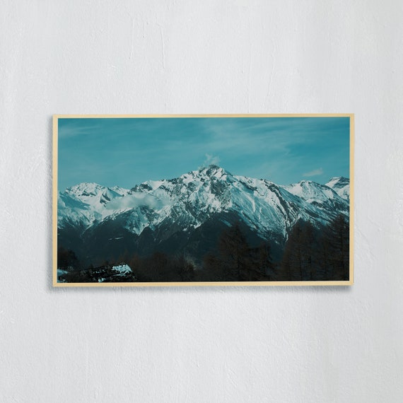 Frame TV Art, Digital downloadable art, Art work of the Swiss Alps, Snowy mountains in Switzerland and blue and cloudy sky