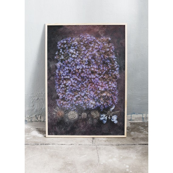 Photography art print of blue and purple late summer flowers. Printed on a high quality paper and a limited edition of the largest format.