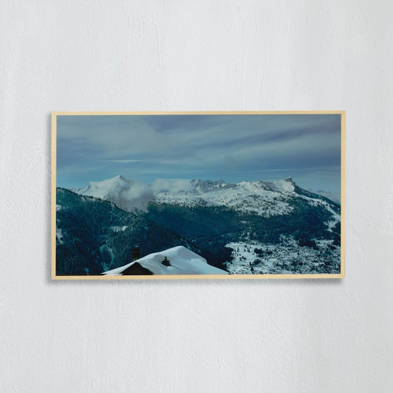 Frame TV Art, Digital downloadable art, Art work of the Swiss Alps, Snowy mountains in Switzerland and blue sky, Swiss chalet roof with snow