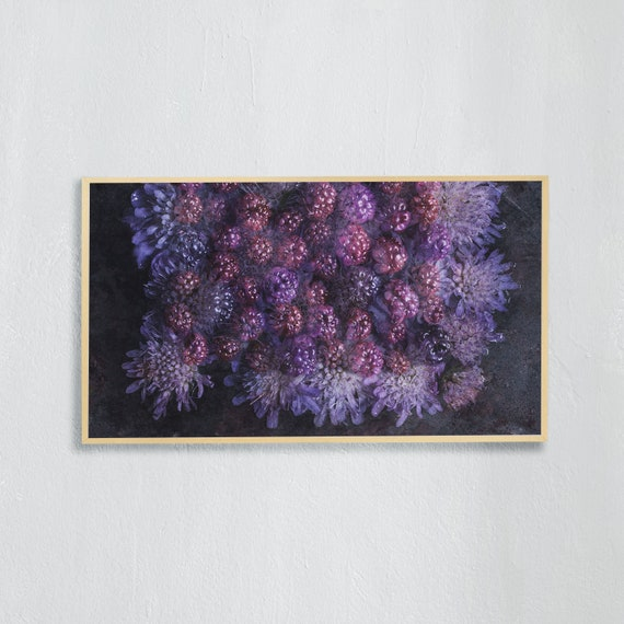 Frame TV Art, Digital downloadable art photography, Art photo of purple flowers and blackberries, Art for digital TV