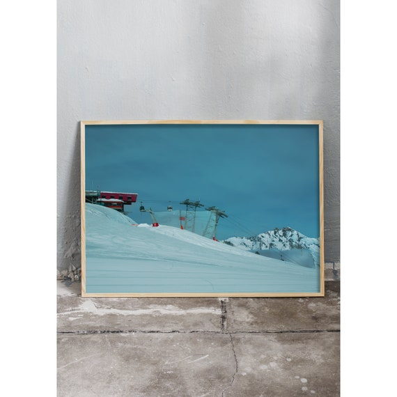 Photography art print of of snowy mountains, ski slope and ski lift in the Swiss alps. Printed on high quality, matte paper.