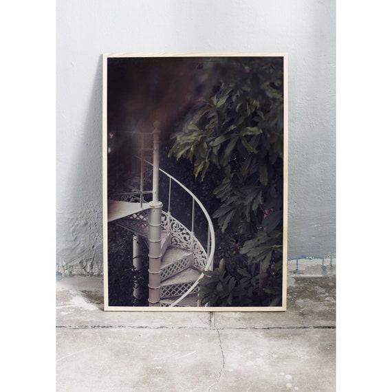 Photography Print, Copenhagen no 1, Spiral Staircase in the Greenhouse, Wall Art, Green, Art, Mint Green Wall Art, Art Print, Flower