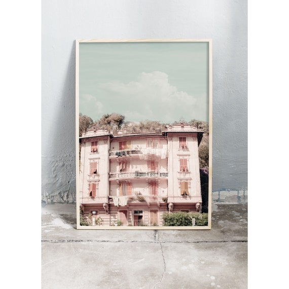 Photography art print of a pink old building in Italy. Print is printed on a matte, high quality paper.