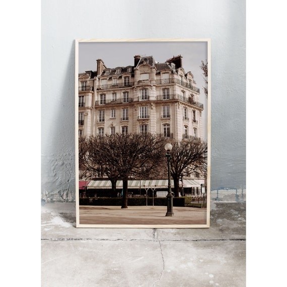Photography art print of building in Paris on the island of ile Saint Louis. Print is printed on a high quality, matte paper.