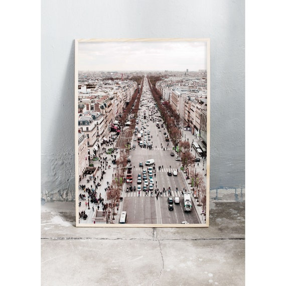 Photography art print of view of the Camps Elysées in Paris. Print is printed on a high quality, matte paper.