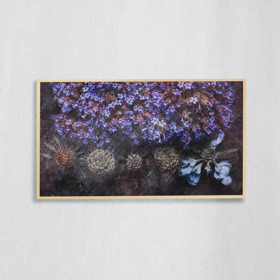 Frame TV Art, Digital downloadable art, Art work purple flowers, Art for digital TV