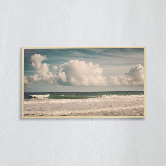Frame TV Art, Digital downloadable art, Art work of beach, ocean, blue sky with cloud in Florida, Art for digital TV, instant download