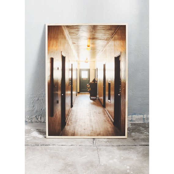 Photography art print of hotel corridor in Miami. Printed on high quality, matte paper.