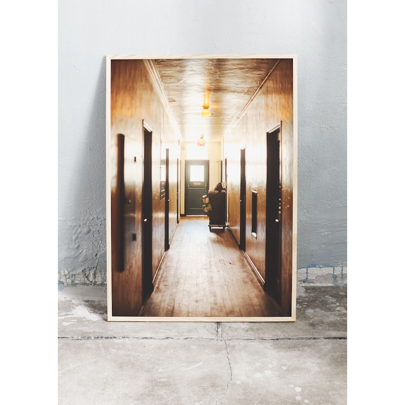 Photography art print of hotel corridor in Miami. Printed on image 0