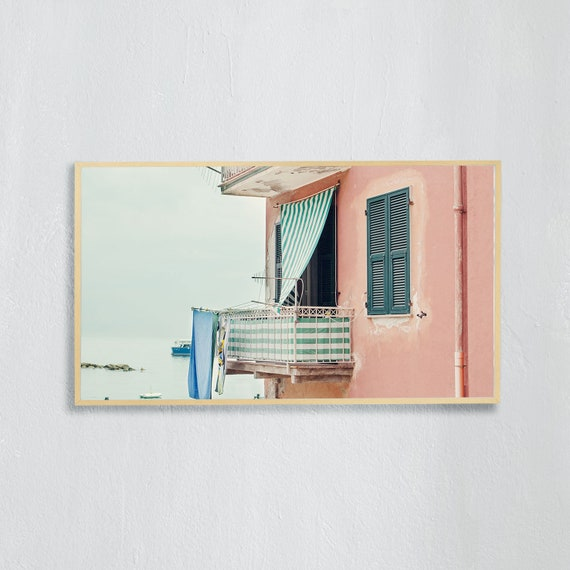 Frame TV Art, Digital downloadable art photography, Art photo of pink building on the beach in Cinque Terre, Italy, Art for digital TV