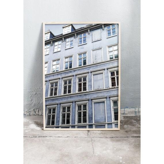 Photography Print of blue, old building in Copenhagen , Denmark.