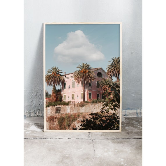Photography art print of pink Italian Villa in Liguria, Italy. Print is printed on a matte, high quality paper.