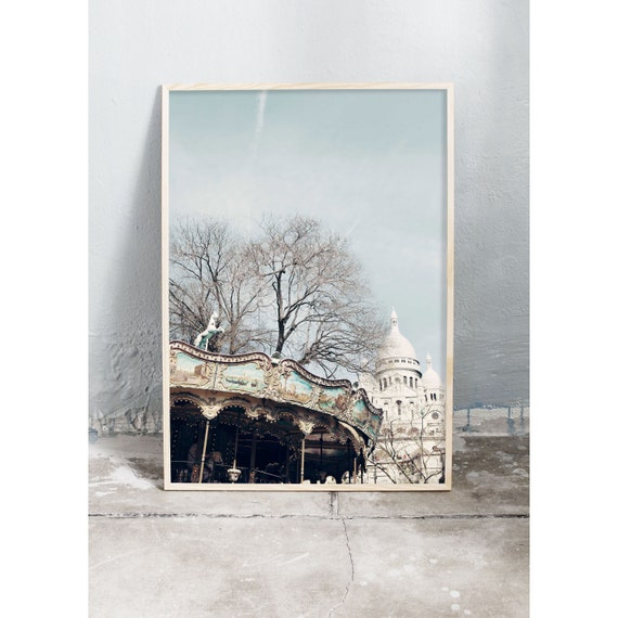 Photography art print of a carousel and the Sacre Coeur in Paris. Print is printed on a high quality, matte paper.