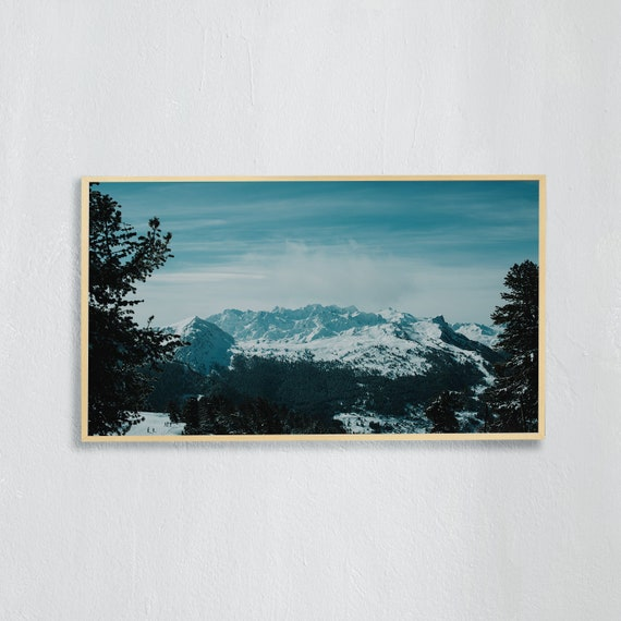 Frame TV Art, Digital downloadable art, Art work of the Swiss Alps, Snowy mountains in Switzerland and blue sky