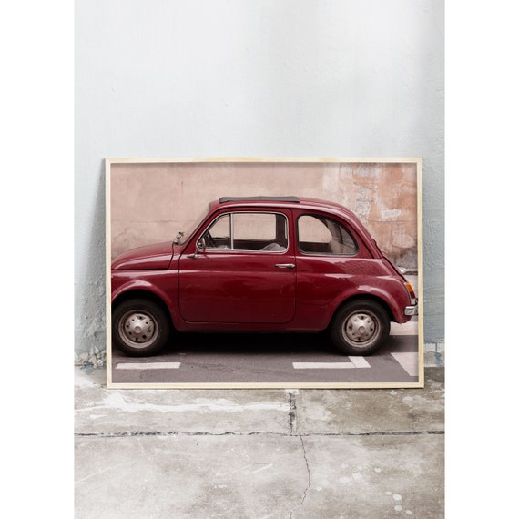 Photography art print of a red vintage Fiat on the streets of Paris. Print is printed on a high quality, matte paper.