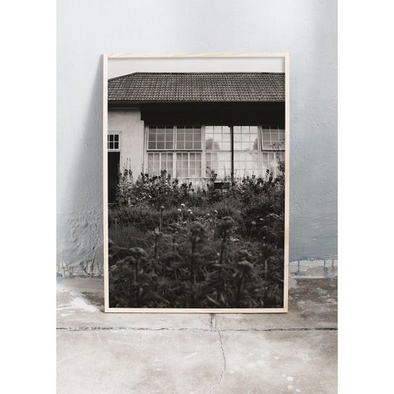 Black and white digital downloadable photo of an old green house with a garden infront.