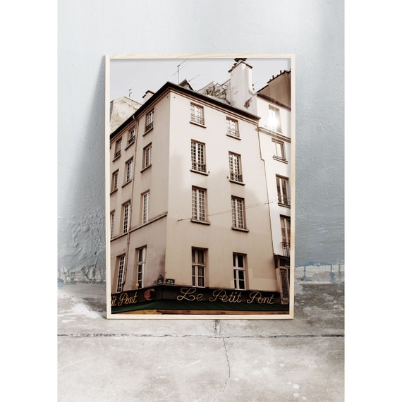 Photography art print of a building in Saint-Michel, Paris. Print is printed on a high quality, matte paper.