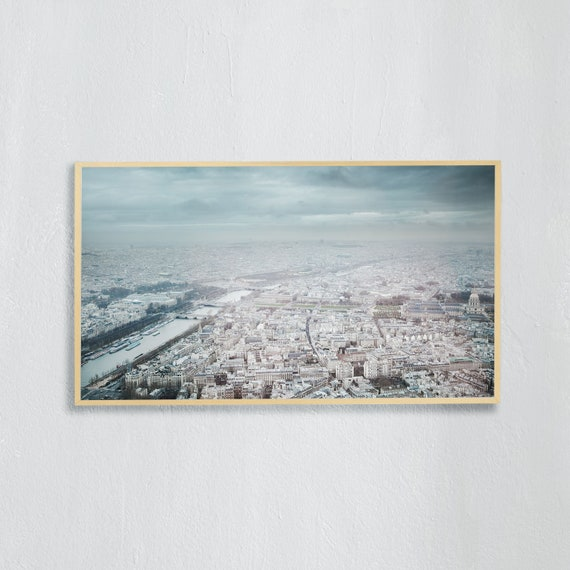 Frame TV Art, Digital downloadable art photography, Art photo of Paris from above, Art for digital TV, light blue, gray tones of Paris