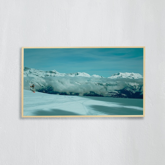 Frame TV Art, Digital downloadable art, Art work of the Swiss Alps, Snowy mountains in Switzerland and blue sky, ski slope in Nendaz