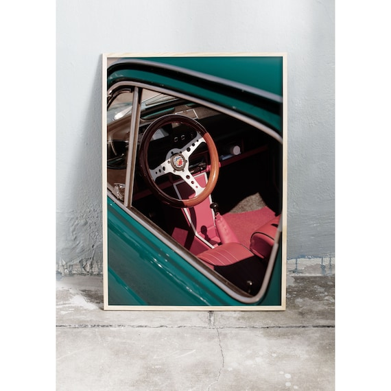 Photography art print of a vintage turquoise Fiat in Florence, Italy. Printed on high quality, matte paper.