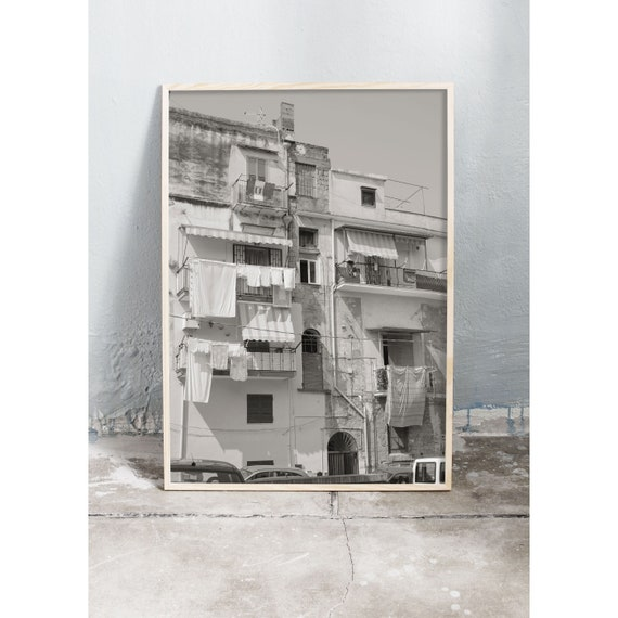 Black and white digital downloadable photo of Italian building.