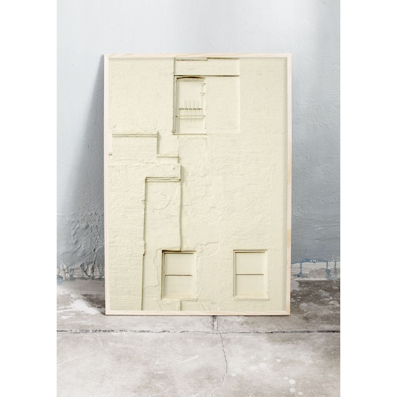 Photography art print of a light yellow painted, brick wall in N.Y.C. Print is printed on a matte, high quality paper.