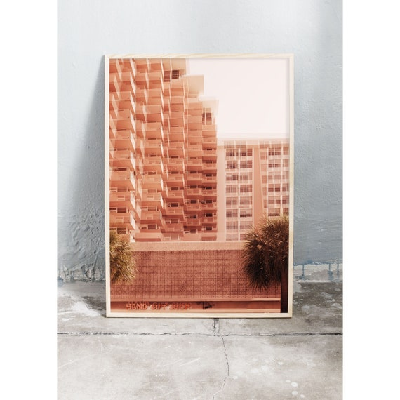 Photography art print of a big pink building in Miami, Florida. Print is printed on a high quality, matte paper.