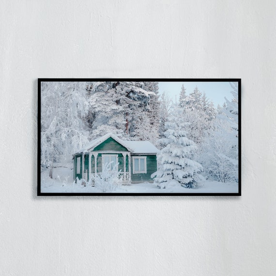 Frame TV Art, Digital downloadable art image, Art work of snowy green cottage surrounded by snowy trees, Art for digital TV