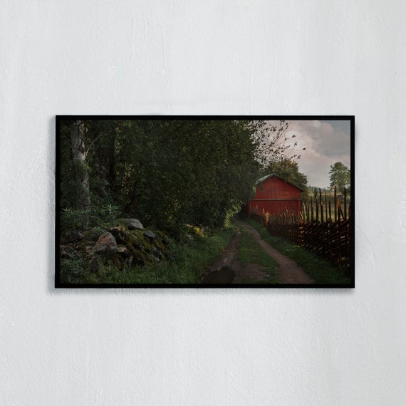 Frame TV Art, Digital downloadable art photography, Art photo of the Swedish countryside, greenery, dirt road, barn,  Art for digital TV