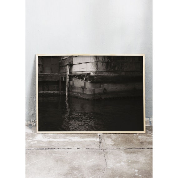 Black and white digital downloadable photo from under a bridge in Copenhagen, Denmark.