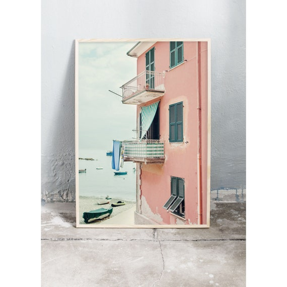 Photography art print of a pink beach house in Cinque Terre, Italy. Print printed on a high quality, matte paper.