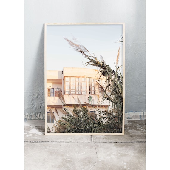 Photography art print of light yellow old building on Crete in Greece. Printed on a high quality, matte paper.