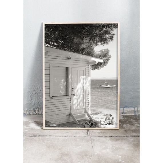 Black and white digital downloadable photo of tiny house by the ocean in Croatia.